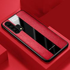Huawei Honor 20 Pro用シリコンケース ソフトタッチラバー レザー柄 ファーウェイ レッド