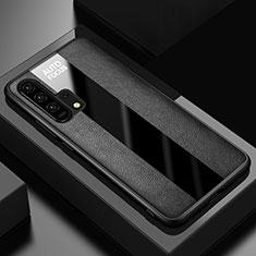 Huawei Honor 20 Pro用シリコンケース ソフトタッチラバー レザー柄 ファーウェイ ブラック