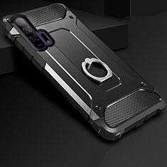 Huawei Honor 20 Pro用ハイブリットバンパーケース プラスチック アンド指輪 ファーウェイ ブラック
