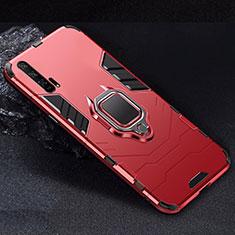 Huawei Honor 20 Pro用ハイブリットバンパーケース スタンド プラスチック 兼シリコーン カバー マグネット式 ファーウェイ レッド