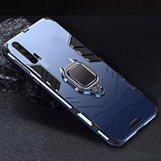 Huawei Honor 20 Pro用ハイブリットバンパーケース スタンド プラスチック 兼シリコーン カバー マグネット式 ファーウェイ ネイビー