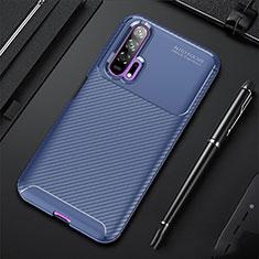 Huawei Honor 20 Pro用シリコンケース ソフトタッチラバー ツイル カバー ファーウェイ ネイビー