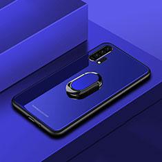 Huawei Honor 20 Pro用ハイブリットバンパーケース プラスチック 鏡面 カバー アンド指輪 マグネット式 ファーウェイ ネイビー