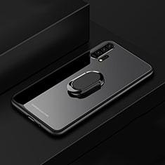 Huawei Honor 20 Pro用ハイブリットバンパーケース プラスチック 鏡面 カバー アンド指輪 マグネット式 ファーウェイ ブラック