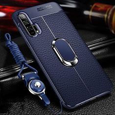 Huawei Honor 20 Pro用シリコンケース ソフトタッチラバー レザー柄 アンド指輪 マグネット式 S01 ファーウェイ ネイビー