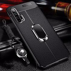 Huawei Honor 20 Pro用シリコンケース ソフトタッチラバー レザー柄 アンド指輪 マグネット式 S01 ファーウェイ ブラック