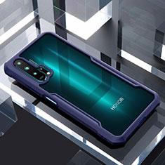 Huawei Honor 20 Pro用ハイブリットバンパーケース クリア透明 プラスチック 鏡面 カバー ファーウェイ ネイビー