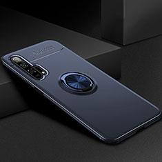 Huawei Honor 20 Pro用極薄ソフトケース シリコンケース 耐衝撃 全面保護 アンド指輪 マグネット式 バンパー ファーウェイ ネイビー