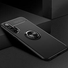 Huawei Honor 20 Pro用極薄ソフトケース シリコンケース 耐衝撃 全面保護 アンド指輪 マグネット式 バンパー ファーウェイ ブラック