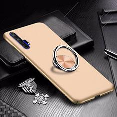 Huawei Honor 20 Pro用ハードケース プラスチック 質感もマット アンド指輪 マグネット式 A01 ファーウェイ ゴールド