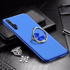 Huawei Honor 20 Pro用ハードケース プラスチック 質感もマット アンド指輪 マグネット式 A01 ファーウェイ ネイビー