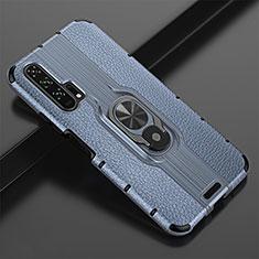 Huawei Honor 20 Pro用シリコンケース ソフトタッチラバー レザー柄 アンド指輪 マグネット式 T02 ファーウェイ ネイビー