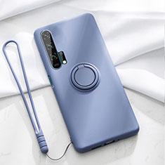 Huawei Honor 20 Pro用極薄ソフトケース シリコンケース 耐衝撃 全面保護 アンド指輪 マグネット式 バンパー T02 ファーウェイ ネイビー