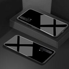 Huawei Honor 20 Pro用ハイブリットバンパーケース プラスチック 鏡面 カバー T02 ファーウェイ ブラック