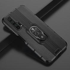 Huawei Honor 20 Pro用シリコンケース ソフトタッチラバー レザー柄 アンド指輪 マグネット式 T03 ファーウェイ ブラック
