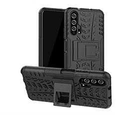 Huawei Honor 20 Pro用ハイブリットバンパーケース スタンド プラスチック 兼シリコーン カバー R02 ファーウェイ ブラック