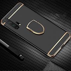 Huawei Honor 20 Pro用ケース 高級感 手触り良い メタル兼プラスチック バンパー アンド指輪 T01 ファーウェイ ブラック