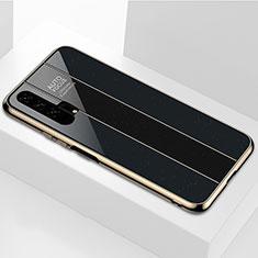 Huawei Honor 20 Pro用ハイブリットバンパーケース プラスチック 鏡面 カバー T04 ファーウェイ ブラック