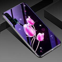 Huawei Honor 20 Pro用ハイブリットバンパーケース プラスチック 鏡面 花 カバー K02 ファーウェイ ローズレッド