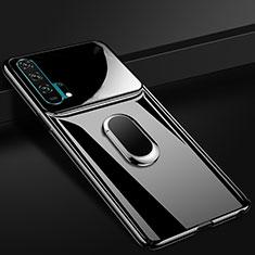 Huawei Honor 20 Pro用ハードケース プラスチック 質感もマット アンド指輪 マグネット式 P01 ファーウェイ ブラック