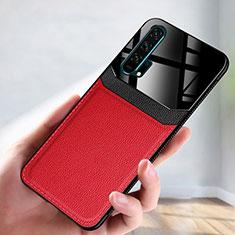 Huawei Honor 20 Pro用ケース 高級感 手触り良いレザー柄 R08 ファーウェイ レッド