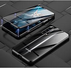 Huawei Honor 20 Pro用ケース 高級感 手触り良い アルミメタル 製の金属製 360度 フルカバーバンパー 鏡面 カバー T03 ファーウェイ ブラック