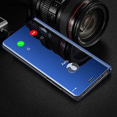 Huawei Honor 20 Pro用手帳型 レザーケース スタンド 鏡面 カバー M01 ファーウェイ ネイビー