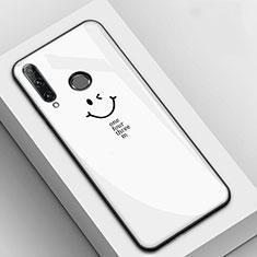 Huawei Honor 20E用ハイブリットバンパーケース プラスチック パターン 鏡面 カバー ファーウェイ ホワイト