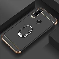 Huawei Honor 20E用ケース 高級感 手触り良い メタル兼プラスチック バンパー アンド指輪 T01 ファーウェイ ブラック