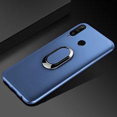 Huawei Honor 20i用極薄ソフトケース シリコンケース 耐衝撃 全面保護 アンド指輪 マグネット式 バンパー ファーウェイ ネイビー