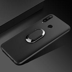 Huawei Honor 20i用極薄ソフトケース シリコンケース 耐衝撃 全面保護 アンド指輪 マグネット式 バンパー ファーウェイ ブラック