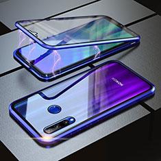 Huawei Honor 20i用ケース 高級感 手触り良い アルミメタル 製の金属製 360度 フルカバーバンパー 鏡面 カバー ファーウェイ ネイビー
