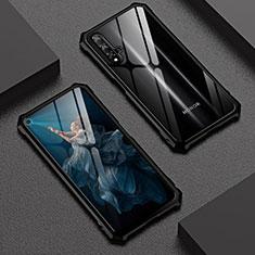 Huawei Honor 20S用ケース 高級感 手触り良い アルミメタル 製の金属製 360度 フルカバーバンパー 鏡面 カバー T06 ファーウェイ ブラック