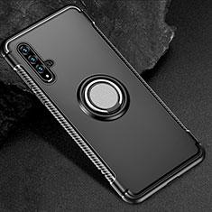 Huawei Honor 20S用ハイブリットバンパーケース プラスチック アンド指輪 マグネット式 R01 ファーウェイ ブラック