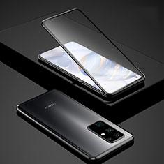 Huawei Honor 30用ケース 高級感 手触り良い アルミメタル 製の金属製 360度 フルカバーバンパー 鏡面 カバー ファーウェイ ブラック