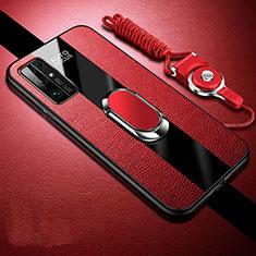 Huawei Honor 30用シリコンケース ソフトタッチラバー レザー柄 アンド指輪 マグネット式 ファーウェイ レッド