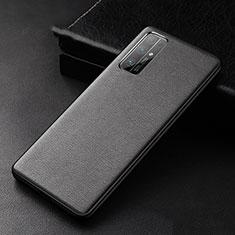 Huawei Honor 30用ケース 高級感 手触り良いレザー柄 ファーウェイ ブラック