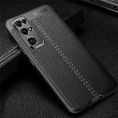 Huawei Honor 30用シリコンケース ソフトタッチラバー レザー柄 カバー ファーウェイ ブラック