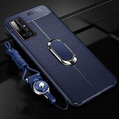 Huawei Honor 30用シリコンケース ソフトタッチラバー レザー柄 アンド指輪 マグネット式 S03 ファーウェイ ネイビー