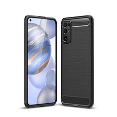 Huawei Honor 30用シリコンケース ソフトタッチラバー ライン カバー ファーウェイ ブラック