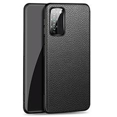 Huawei Honor 30 Lite 5G用ケース 高級感 手触り良いレザー柄 ファーウェイ ブラック