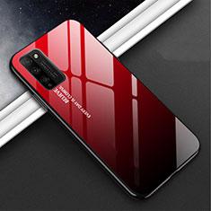 Huawei Honor 30 Lite 5G用ハイブリットバンパーケース プラスチック 鏡面 カバー M01 ファーウェイ レッド