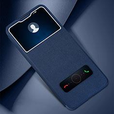 Huawei Honor 30 Lite 5G用手帳型 レザーケース スタンド カバー L01 ファーウェイ ネイビー