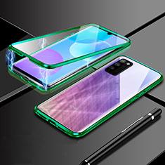 Huawei Honor 30 Lite 5G用ケース 高級感 手触り良い アルミメタル 製の金属製 360度 フルカバーバンパー 鏡面 カバー ファーウェイ グリーン