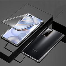 Huawei Honor 30 Pro用ケース 高級感 手触り良い アルミメタル 製の金属製 360度 フルカバーバンパー 鏡面 カバー M01 ファーウェイ ブラック