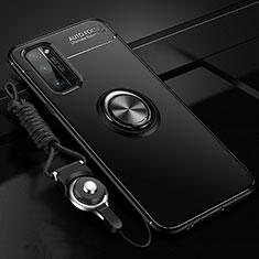 Huawei Honor 30 Pro用極薄ソフトケース シリコンケース 耐衝撃 全面保護 アンド指輪 マグネット式 バンパー ファーウェイ ブラック