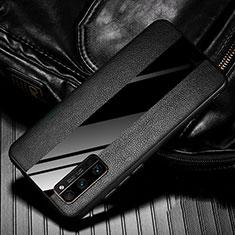 Huawei Honor 30 Pro用シリコンケース ソフトタッチラバー レザー柄 カバー ファーウェイ ブラック