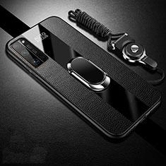Huawei Honor 30 Pro用シリコンケース ソフトタッチラバー レザー柄 アンド指輪 マグネット式 S01 ファーウェイ ブラック