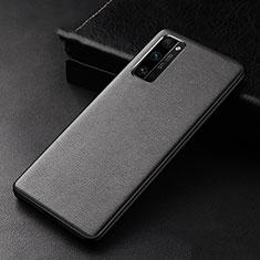 Huawei Honor 30 Pro用ケース 高級感 手触り良いレザー柄 ファーウェイ ブラック