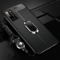 Huawei Honor 30 Pro用シリコンケース ソフトタッチラバー レザー柄 アンド指輪 マグネット式 S03 ファーウェイ ブラック